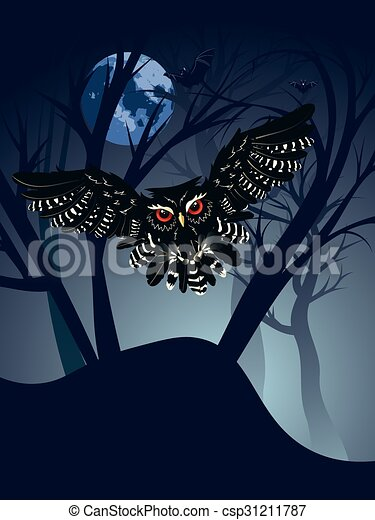 Owl in the Night Forest - csp31211787