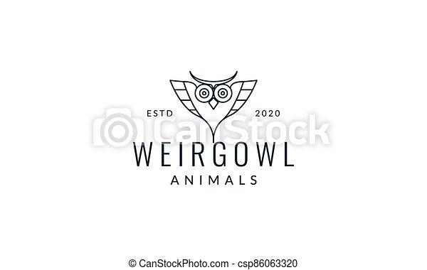 owl line head unique logo vector illustration design - csp86063320