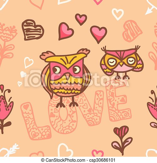 owl lovers seamless background - csp30686101