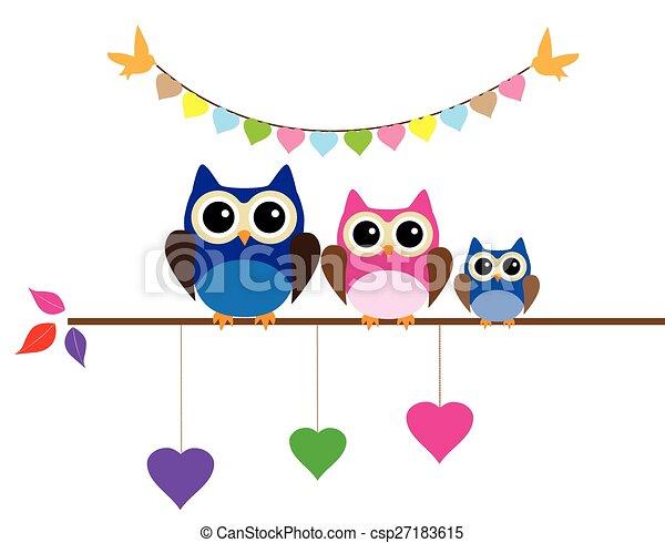 Owl mom dad. Vector cute owl family.