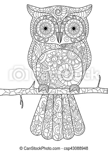 Owl On A Branch Coloring Book Vector For Adults Owl On A Branch