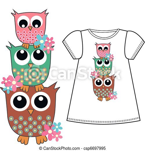 owl pattern for childrens clothes - csp6697995