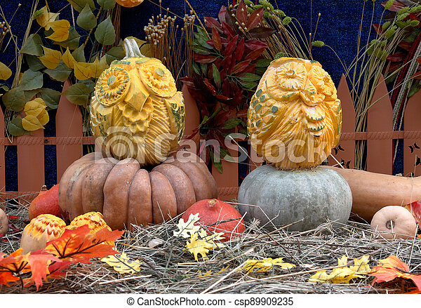 """Owl pumpkins at the festival """"Golden autumn"""" in Moscow - csp89909235"""
