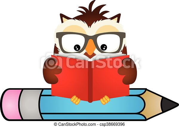 scalable vectorial image representing a owl reading book eps rh canstockphoto com Colorful Cartoon Owls Owl Teacher Clip Art