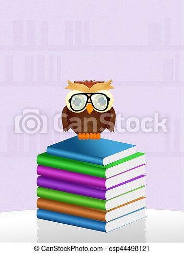 owl reads books - csp44498121