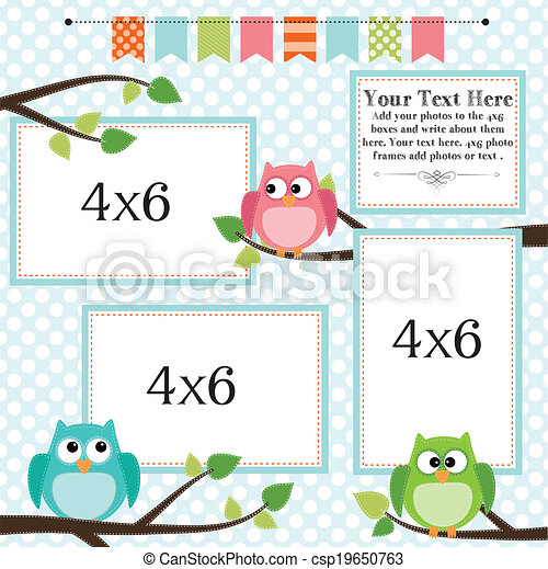 Owl scrapbooking template with banner or bunting - csp19650763