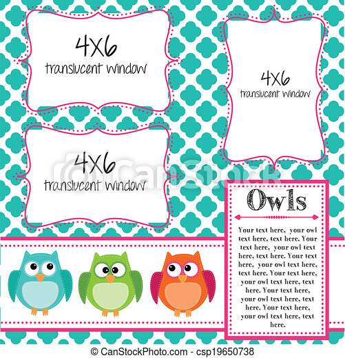 Owl Scrapbooking Template With Banner Or Bunting And 4x6 Frames For Photos Or Text Vector Format