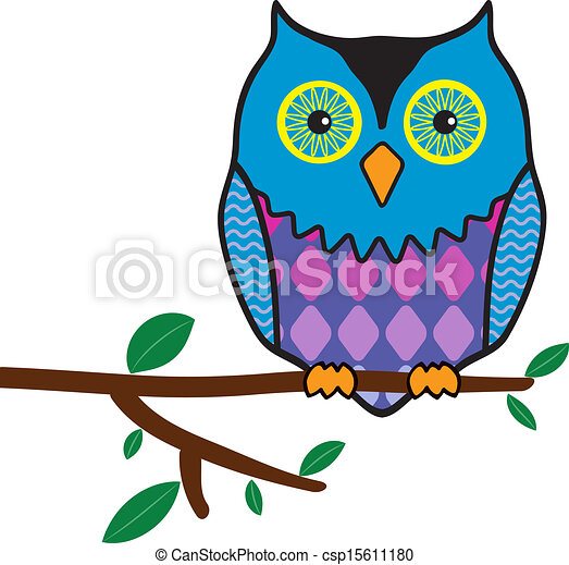 owl sitting on a tree branch  - csp15611180