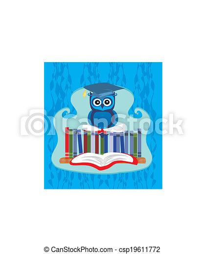 Owl sitting on books - csp19611772