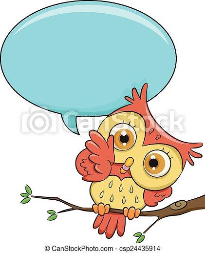 owl speech bubble illustration of a cute owl with a blank vector rh canstockphoto com Cute Owl Clip Art Owl in Tree Clip Art