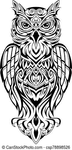 Owl tattoo design - csp78898526