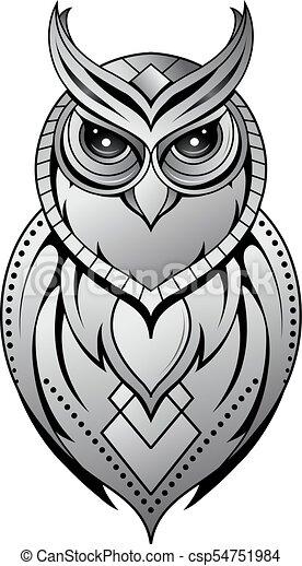 Owl Tattoo Shape On White Owl Tattoo Shape With Ethnic Elements