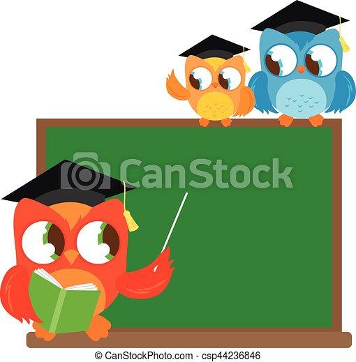 owl teacher and little students at classroom vector eps vector rh canstockphoto com owl teacher clipart black and white
