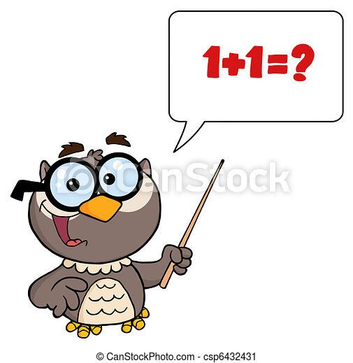 Owl Teacher Cartoon Character - csp6432431