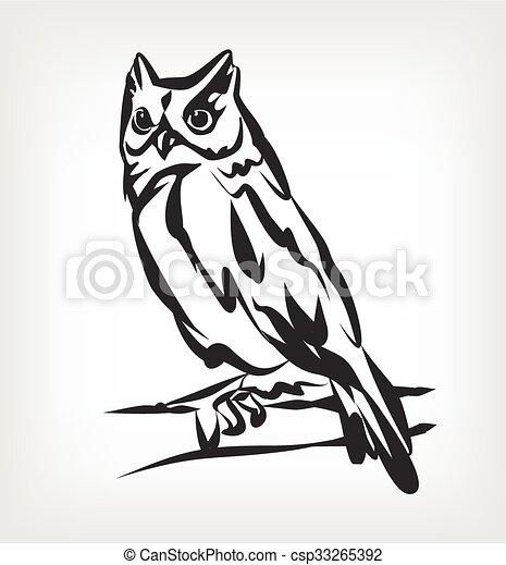 Owl vector black icon logo - csp33265392