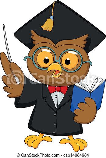 Owl wearing a graduation uniform gi - csp14084984