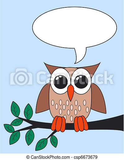 owl with a message - csp6673679