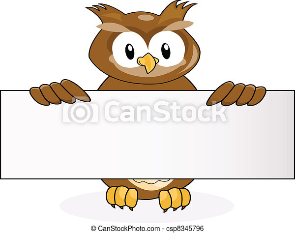owl with blank sign - csp8345796
