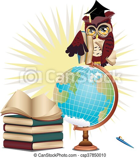 Owl With Globe Cartoon Wise And Stack Of Books