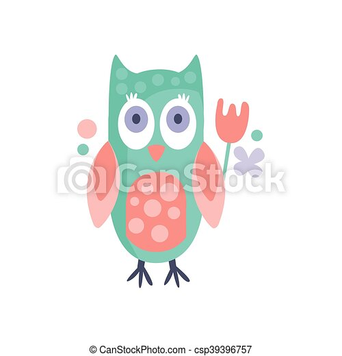 Owl With Party Attributes Girly Stylized Funky Sticker - csp39396757