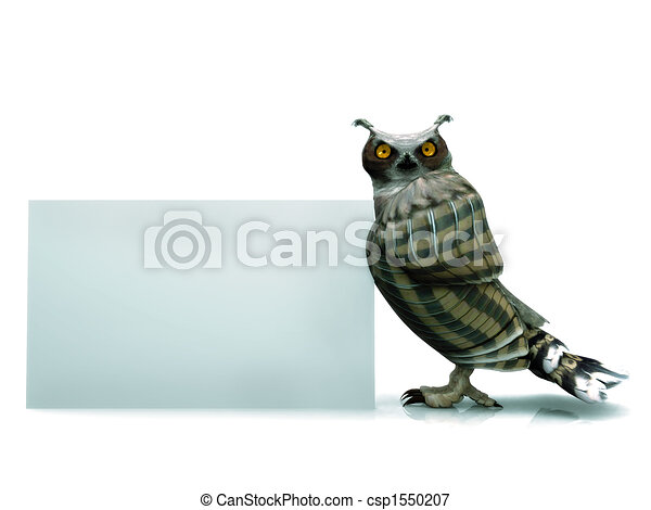 Owl with sign - csp1550207