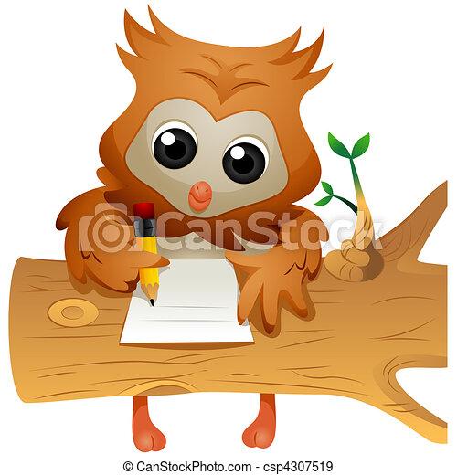 Owl Writing - csp4307519