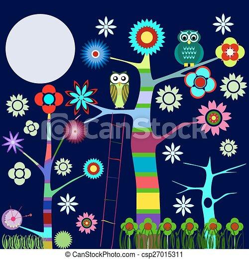 Árbol de búho colorido en flor - csp27015311