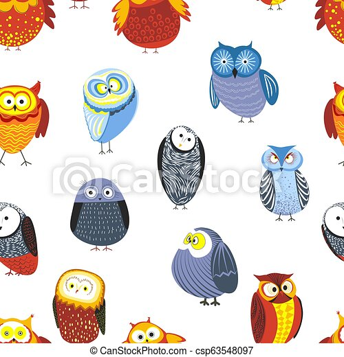 Owls Cartoon Kid Funny Characters With Feather Ornament Seamless Pattern Vector Isolated Flat Icons Of Owl Bird In Colorful Canstock