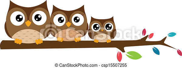 owls Family sat on a tree branch - csp15507255
