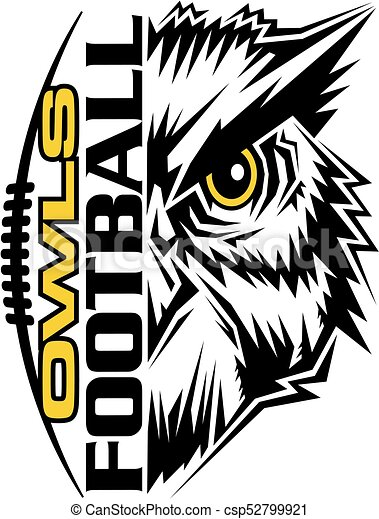 owls football team design with mascot and laces for school