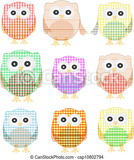 owls icon set isolated on white - csp10802794
