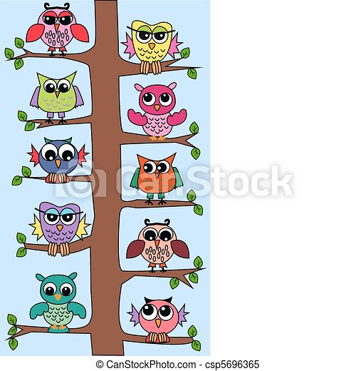 owls in a tree lot of colorful owls sitting in a tree rh canstockphoto com clip art owl in a tree