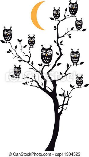 owls sitting on tree, vector - csp11304523