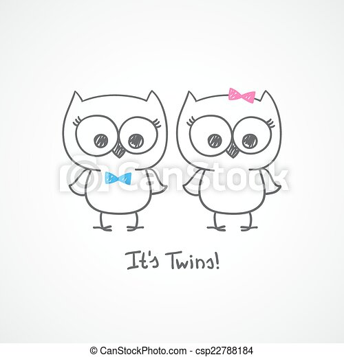 Vector little owls twins baby shower invitation template vector owls twins vector stopboris Choice Image