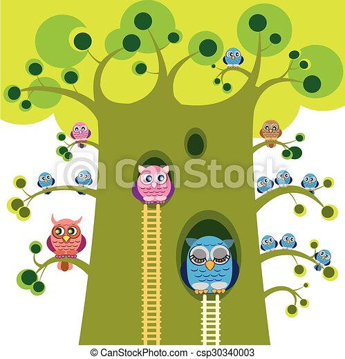 Owls Vector Illustration Owls Family On Branches Of Great Tree Owlets On Branches Big Owl Grandfather Sleep In Tree Hole Canstock Tree hole cartoon 1 of 1. https www canstockphoto com owls vector illustration owls family on 30340003 html