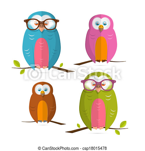 Owls Vector Illustration Set Isolated on White Background - csp18015478