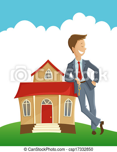 Owner And His House Vector Illustration Of Man Holding