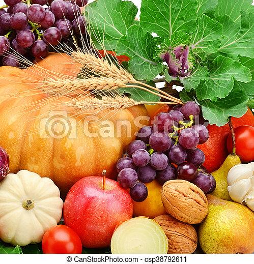 owoce, komplet, tło, ziele, warzywa - csp38792611