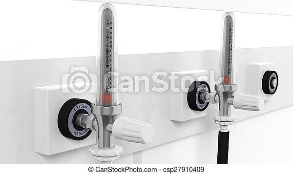 oxígeno, aislado, primer plano, plano de fondo, dispositivo, blanco, flowmeter - csp27910409