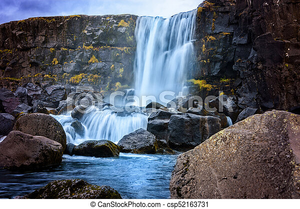 Oxarafoss waterfall in Iceland - csp52163731
