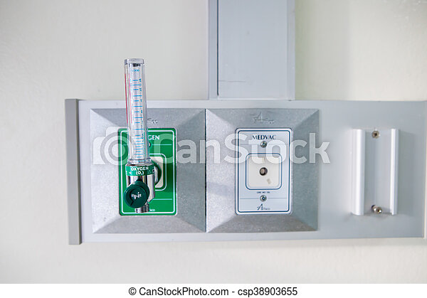 Oxygen piping and regulator with flow meter for patient - csp38903655