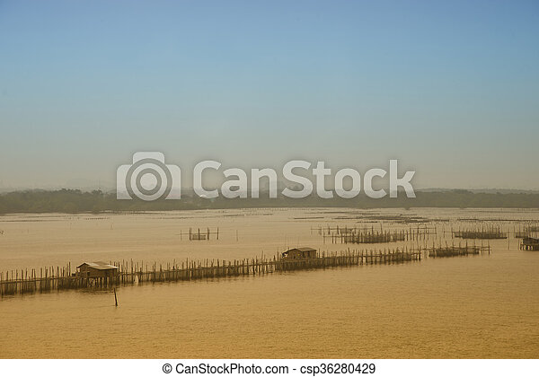 Oyster farm in sea Abstract background - csp36280429
