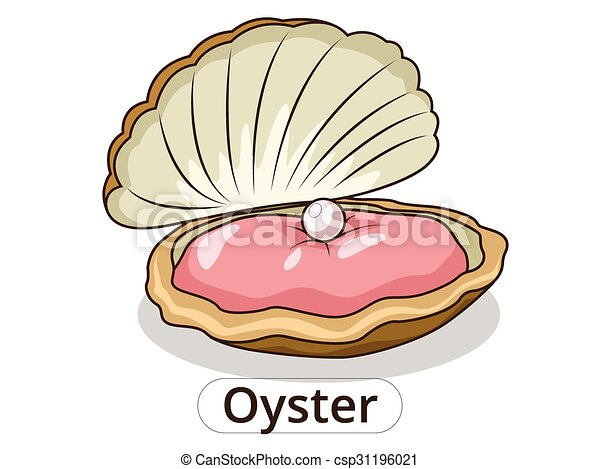 Oyster underwater animal cartoon illustration  - csp31196021
