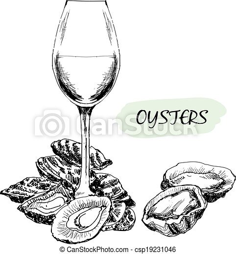 Oysters and wine glass - csp19231046