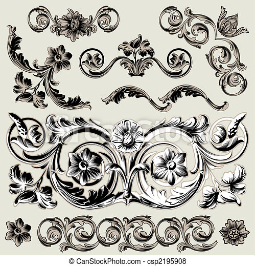 ozdoba, kwiatowy, komplet, elementy, klasyk - csp2195908