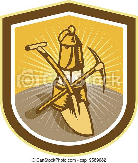 pá, escudo, machado, mineiro, carvão, lâmpada, retro, pico - csp19589682