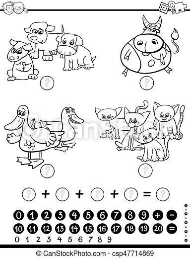 Página de color de juego matemático - csp47714869