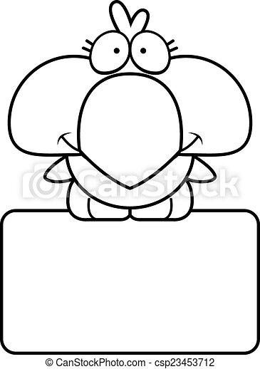Señal de pájaro azul de dibujos animados - csp23453712