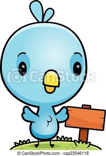 Un cartel de madera de pájaro azul de dibujos animados - csp23546118