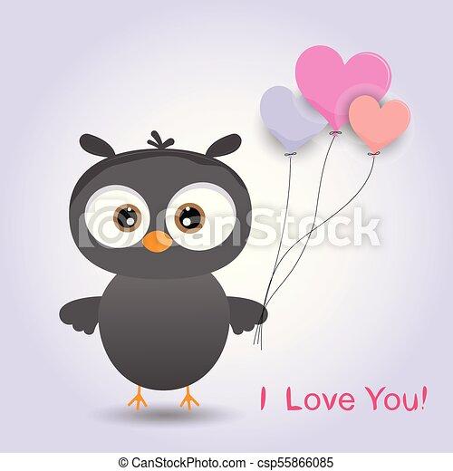 Linda chica búho pájaro de dibujos animados con un globo. - csp55866085